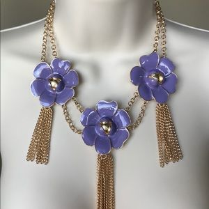 New York & Company Purple Flower Necklace